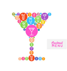 Cocktail menu design flat style poster vector