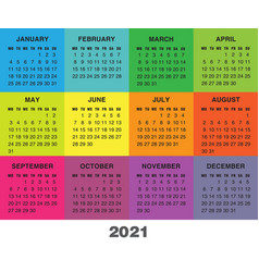 Colorful calendar for 2021 year week starts vector