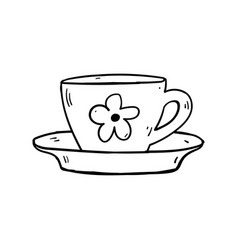 cups mug flower hand drawn style doodle vector image