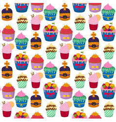 Cute cupcakes and muffins chocolate vector