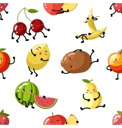 Cute fruit apple cherry watermelon kiwi strawberry vector image