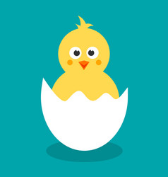 cute yellow cartoon chicken for easter design vector image