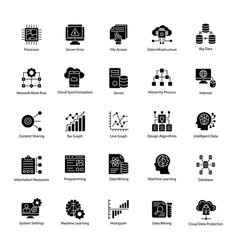 Data science glyph set vector