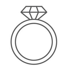 Diamond ring thin line icon jewelry and marriage vector
