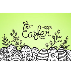 easter greeting card with rabbit silhouette vector image