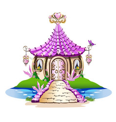 Fairy house with pink crystals vector