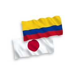 Flags japan and colombia on a white background vector