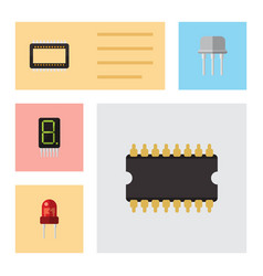 flat icon device set of calculate mainframe vector image