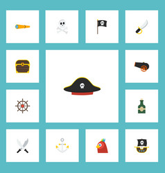 Flat icons sabre vessel macaw and other vector