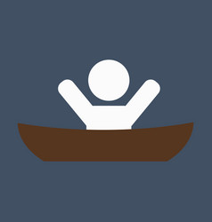 flat male character - cartoon - man in a boat vector image