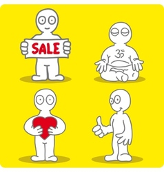 Four little men on yellow background vector