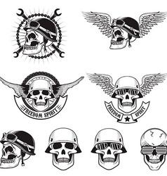 freedom spirit set skulls in biker helmets vector image