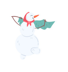 Funny snowman character wearing headscarf and vector