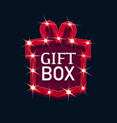gift box retro board illuminated isolated vector image