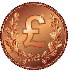 gold Money Pound coin vector image