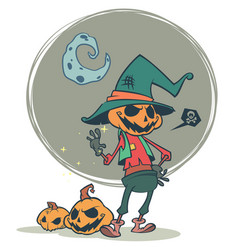 halloween scary pumpkin head scarecrow vector image