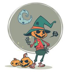 Halloween scary pumpkin head scarecrow vector