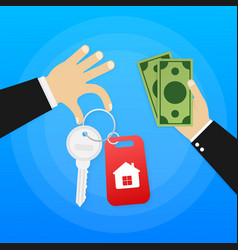 hand agent with home in palm and key on finger vector image