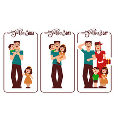happy fathers day dad mom and kids happy family vector image