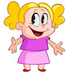 happy kid presenting vector image