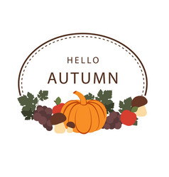 hello autumn pumpkin vegetable frame background ve vector image