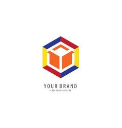 hexagon colorful logo vector image
