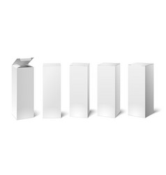 High white cardboard box mockup set of cosmetic vector