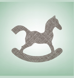Horse toy sign brown flax icon on green vector
