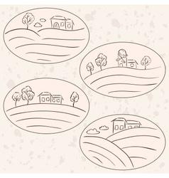 Houses on hill landscape labels vector