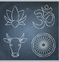 India chalkboard icons set in line style vector