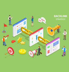 isometric flat concept backlink strategy vector image