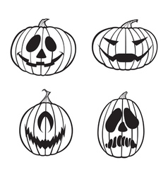 Jack o lanterns 1 color vector