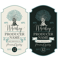 labels for whiskey with crown and oak tree vector image