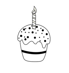 Line delicious cupcake with candle to happy vector