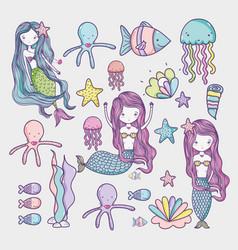 little mermaid and sea animals art cartoon vector image