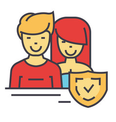 man and woman safety shield warranty concept vector image