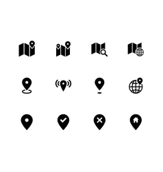 Map icons on white background GPS and Navigation vector image