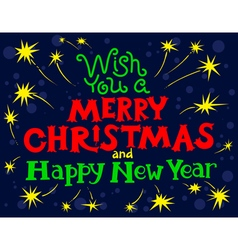 Merry Christmas and New Year lettering vector image