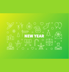 new year horizontal banner in vector image