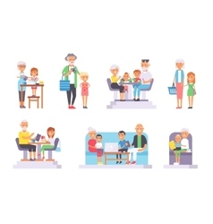Old and young people set vector image