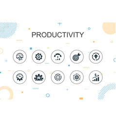 Productivity trendy infographic template thin vector