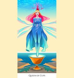 Queen of cups tarot card vector