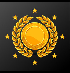 Realistic gold medal with laurel wreath vector