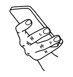 right hand using mobile phone vector image