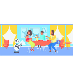 robot waiter serving food to visitors family vector image