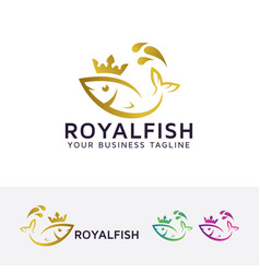 royal fish logo design vector image