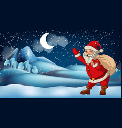 santa claus in front winter landscape vector image