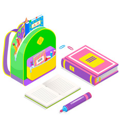 School supplies and stationery isolated vector