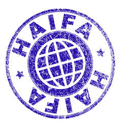 Scratched textured haifa stamp seal vector
