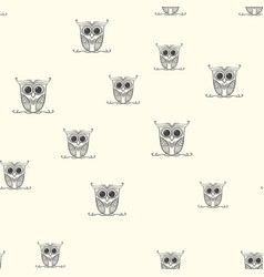seamless cute owl doodle pattern vector image